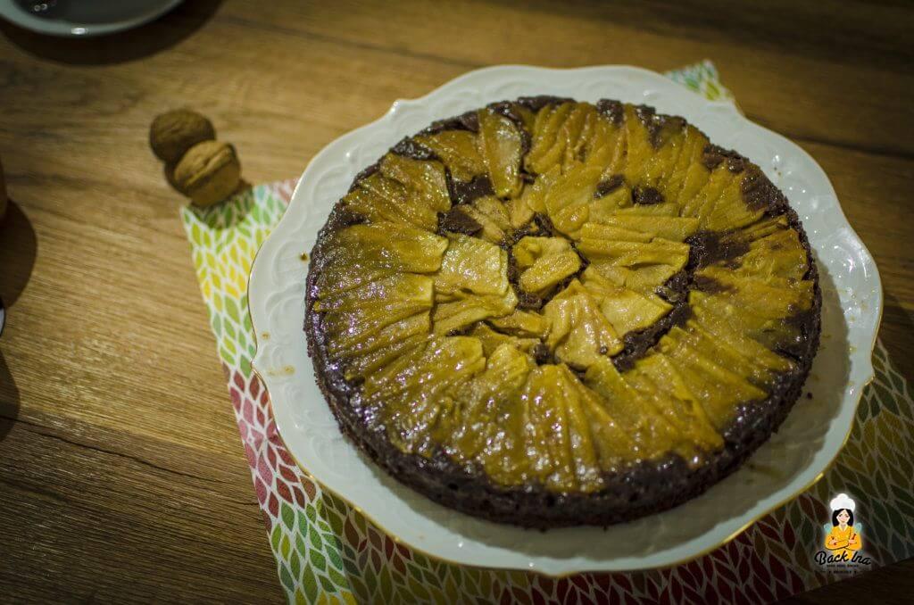 Upside Down Schoko Apfelkuchen: Herbstlicher Apfelkuchen