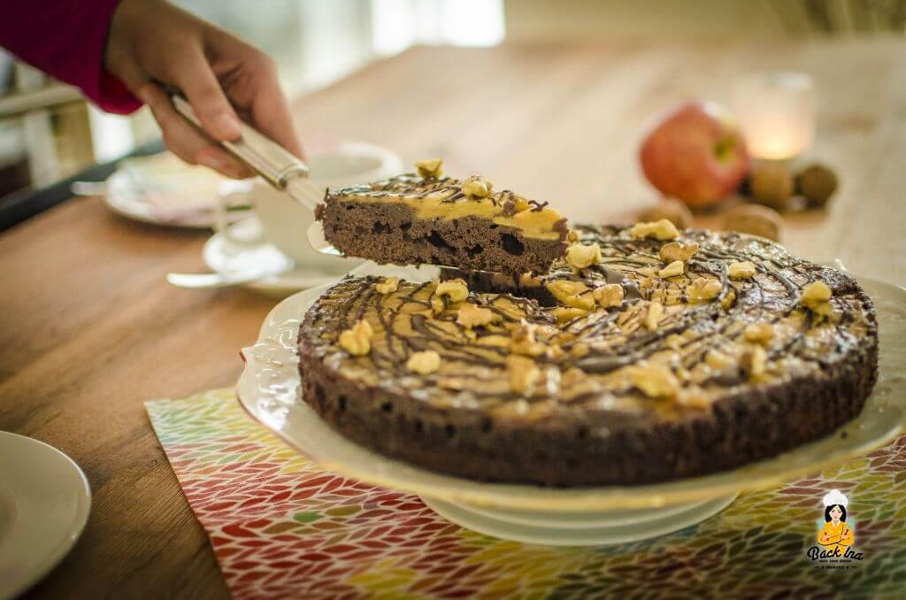 Apfelkuchen mal anders: Upside Down Apfelkuchen mit Schokolade