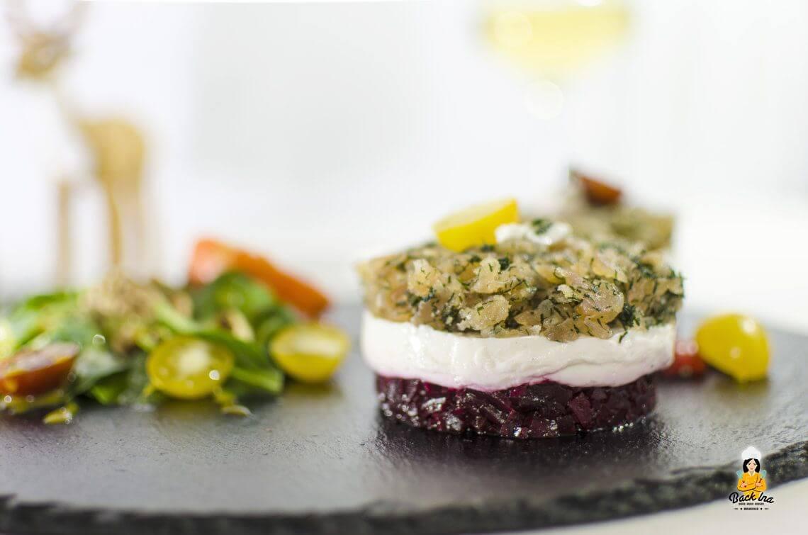Das fränkische Weihnachtsdinner: Gebeizter Saibling als Vorspeise