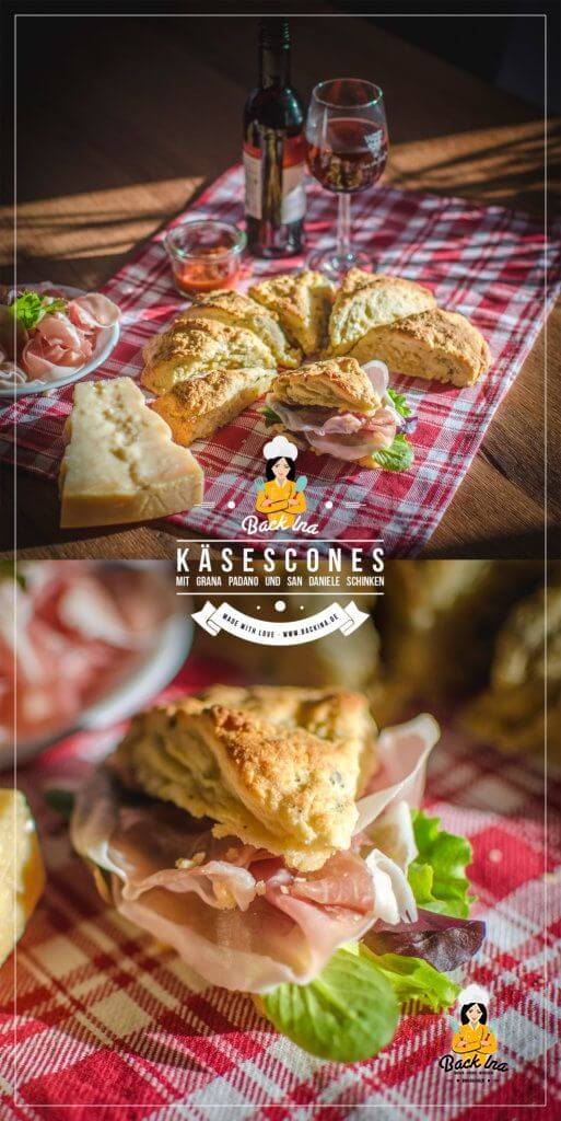 Der ideale Snack zu einem Glas Wein oder als herzhaftes Frühstück: Herzhafte Käse Scones mit Grana Padano und San Daniele Schinken | Backina.de