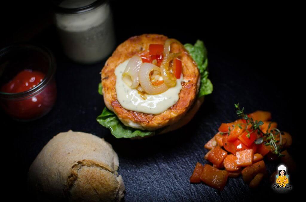 Lachs Burger mit selbstgemachtem Ciabatta Bun: Burger mit Fisch ist ebenfalls lecker