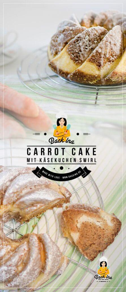 Saftiger Carrot Cake mit Cheesecake-Füllung oder zu Deutsch: Rüblikuchen mit Käsekuchen Swirl. Egal, wie man es nennt: Das ist ein perfekter Frühlingskuchen!   BackIna.de