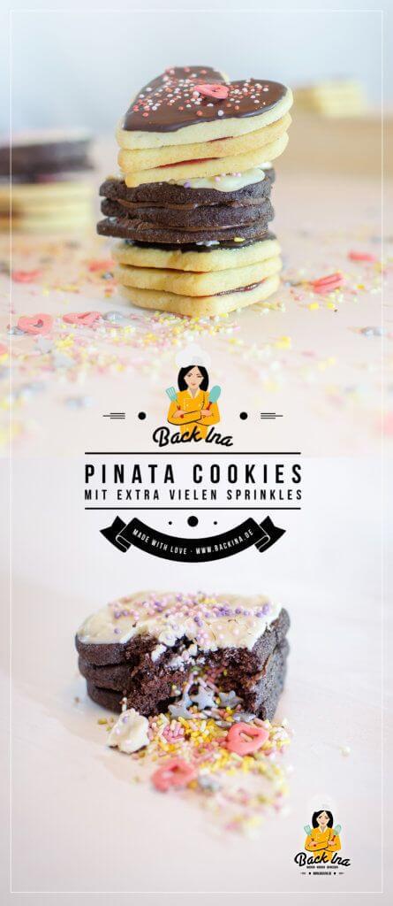 Witzige Idee zum Geburtstag oder Muttertag: Pinata Cookies in Herzform - das sind Terrassenplätzchen (Vanilleplätzchen mit Himbeergelee und Schokoplätzchen mit Kaffee Nougat), die in der Mitte mit bunten Streuseln gefüllt sind.