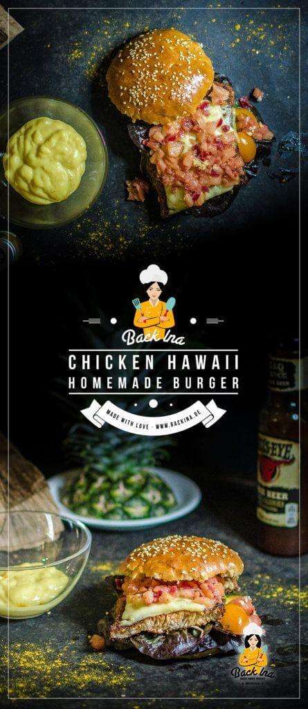 Ein saftiger Chicken Burger Hawaii: Mit selbstgemachten Brioche Buns, saftigem Hähnchen und einem pikanten Ananas Chutney. So muss ein Chicken Burger schmecken!   BackIna.de
