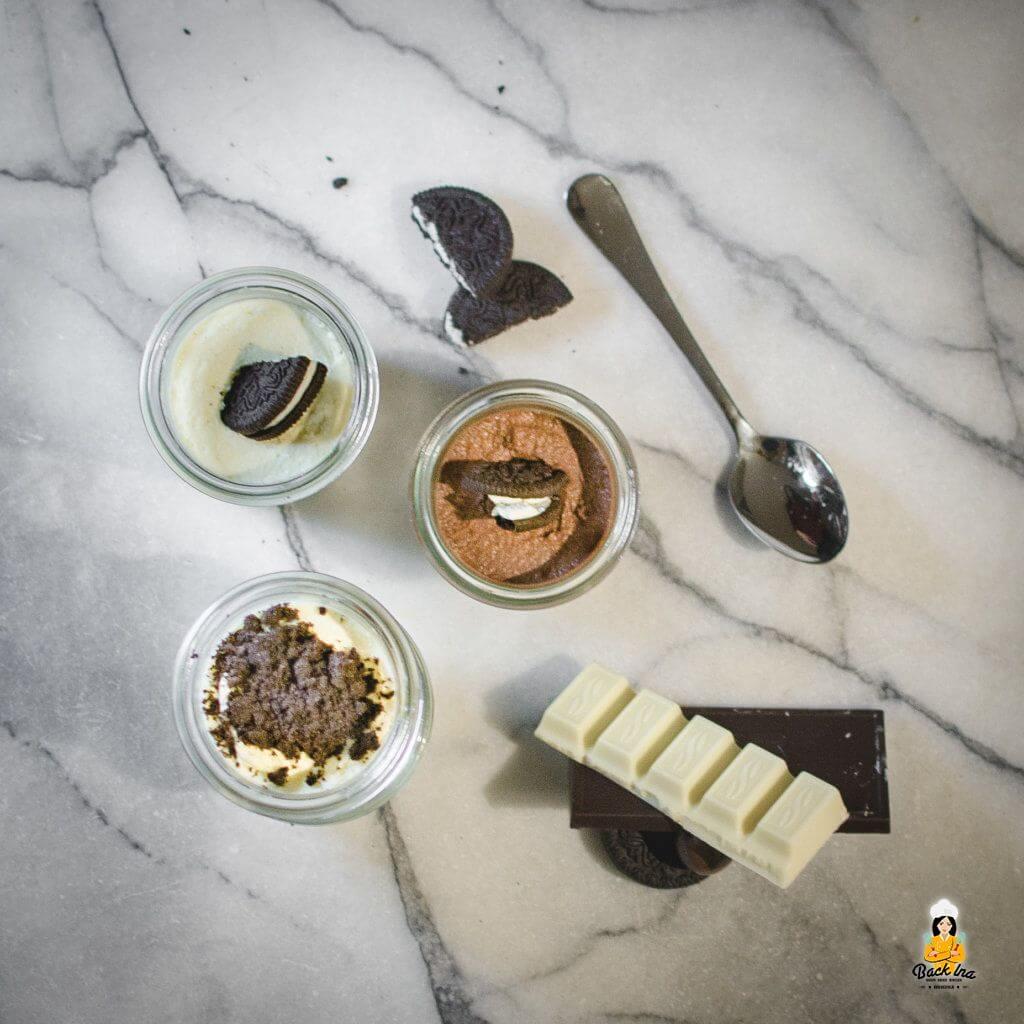 Dessert im Glas mit Oreos und zweierlei Schoko Mousse: Einfach zu machen und verdammt lecker!