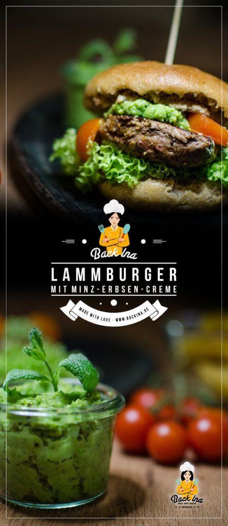 Burger mal anderes: Lamm-Burger mit Roggen-Vollkornbuns und Erbsen-Minzcreme   BackIna.de