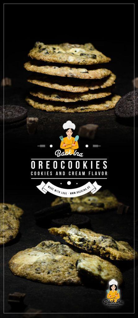 Schon mal Cookies 'n' Cream Cookies probiert? Das sind chewy, weiche Cookies mit Oreo Stückchen und vanilligem Teig. Ein leckeres Rezept für Oreo Fans! | BackIna.de