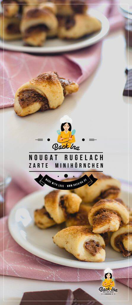 Diese Mini Nougat Hörnchen sind die besten zum Frühstück oder Snack zum Kaffee! Mit Frischkäse im Teig sind diese Mini Nougat Hörnchen auch als Rugelach bekannt. Einfach super zart und lecker! | BackIna.de