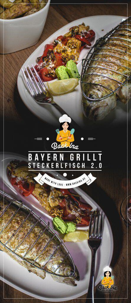 Steckerlfisch, die leckere bayerische Spezialität, kannst du leicht selber machen: Forelle mit Kräuter-Marinade und Chili-Marinade vom Grill mit Grillgemüse-Salat und selbstgemachten Pommes vom Grill. Gesund und lecker! | Backina.de