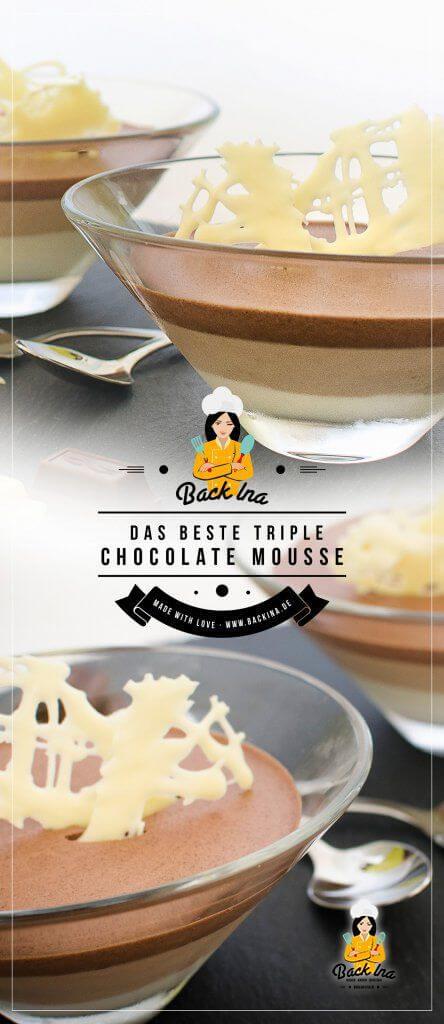 Triple Mousse au Chocolat ohne Ei - das ist das leckerste Schoko Dessert im Glas, das ich kenne. Cremiges weißes Mousse au Chocolat, aromatisches Nougat Mousse und klassisches dunkles Mousse au Chocolat kombiniert zu einem Ombre Dessert. Und das ganze Mousse au Chocolat Rezept ist ohne Ei! | BackIna.de