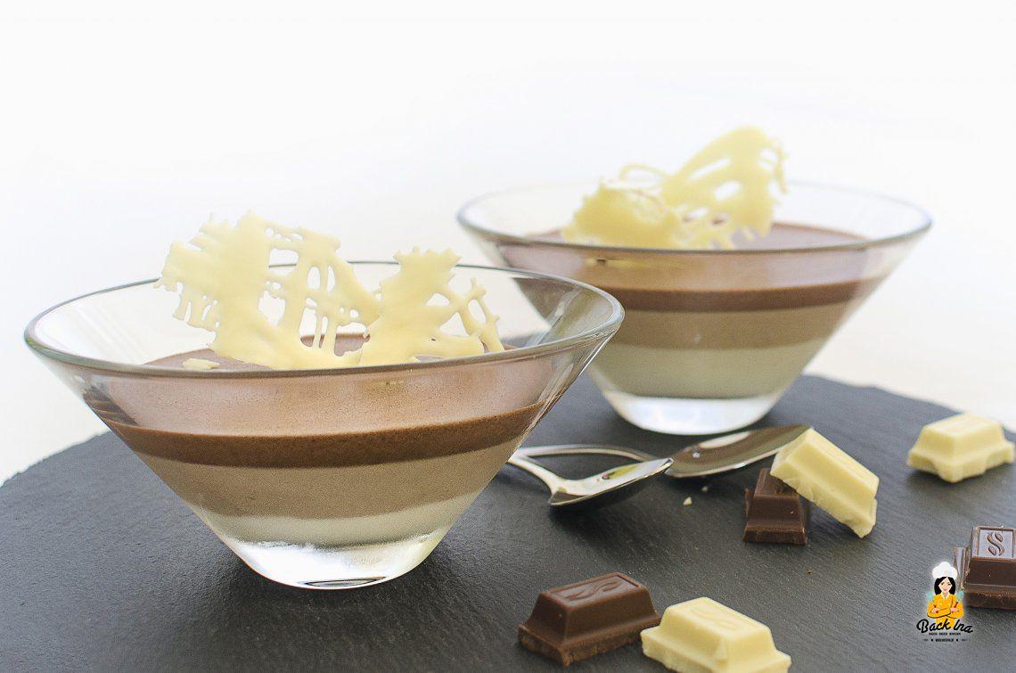 Dreierlei Schweinerei (Gestreiftes Mousse au Chocolat im Glas)