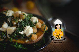 Vegetarische Ofen Süßkartoffel mit Feta, Kichererbsen und Feta: einfach, schnell und leckeres vegetarisches Abendessen!
