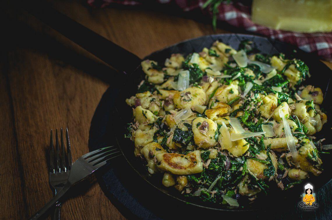 Gnocchi selber machen (Gnocchi-Pfanne mit Thunfisch und Spinat)