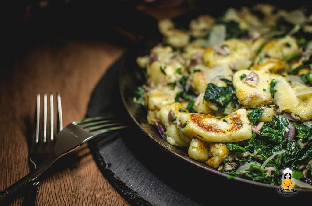 Gnocchi selber machen und Gnocchi Pfanne mit Spinat und Thunfisch
