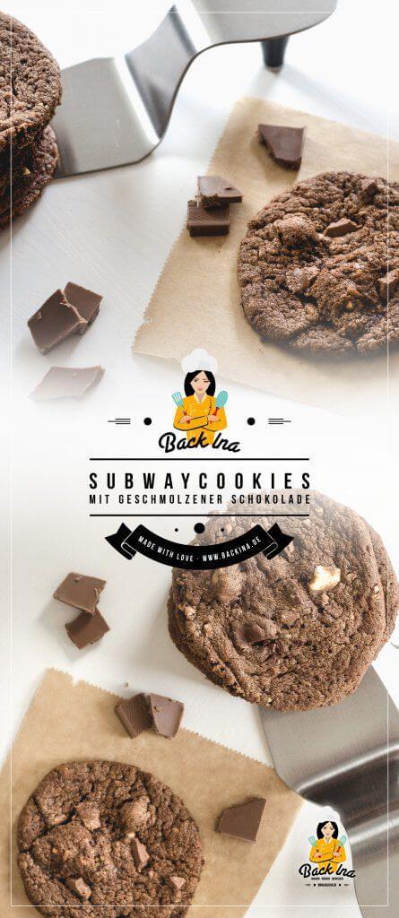 Double Chocolate Cookies mal anders: Dank geschmolzener Schokolade im Teig bleiben diese Subway Cookies länger frisch und saftig! | BackIna.de