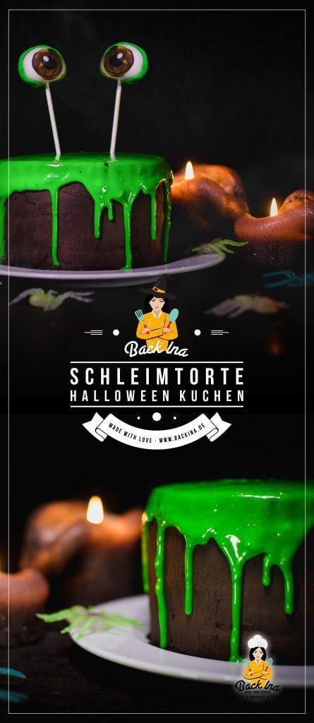 Du suchst eine schnelle Halloween Torte? Dann ist diese giftig grüne Schleim Torte, ein Drip Cake, genau richtig für dich! Der Hingucker auf deiner Halloween Party! | BackIna.de