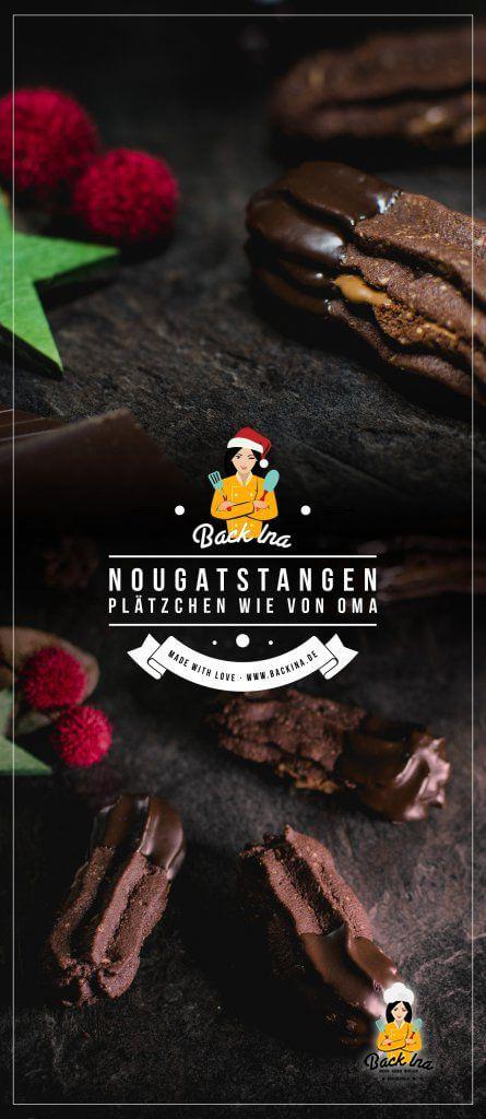Schokolade, Haselnüsse und Nougat - diese Plätzchen vereinen gleich drei unserer Lieblingszutaten! Die Nougatstangen nach einem Rezept meiner Oma sind gehören zu meinen liebsten und leckersten Plätzchen. Die besten Plätzchen für Schokoholics! | BackIna.de