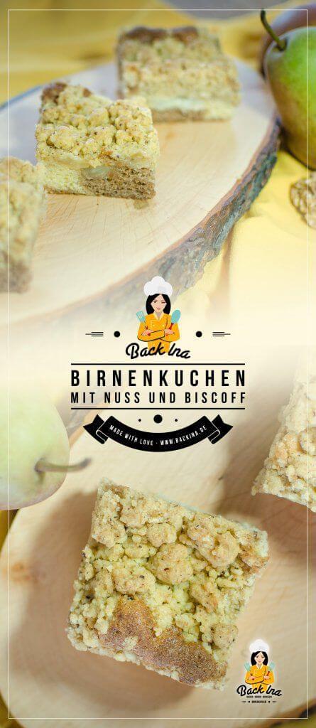 Birnenkuchen vom Blech mal anders: Ein Marmorkuchen mit Biscoff als Basis, darauf Karamellbirnen und knusprige Streusel mit Nuss. Der ideale Blechkuchen für den Herbst! | BackIna.de
