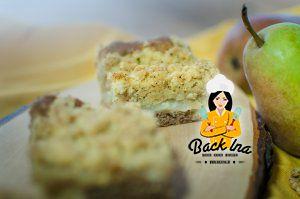 Birnenkuchen mit Biscoff und Nussstreuseln
