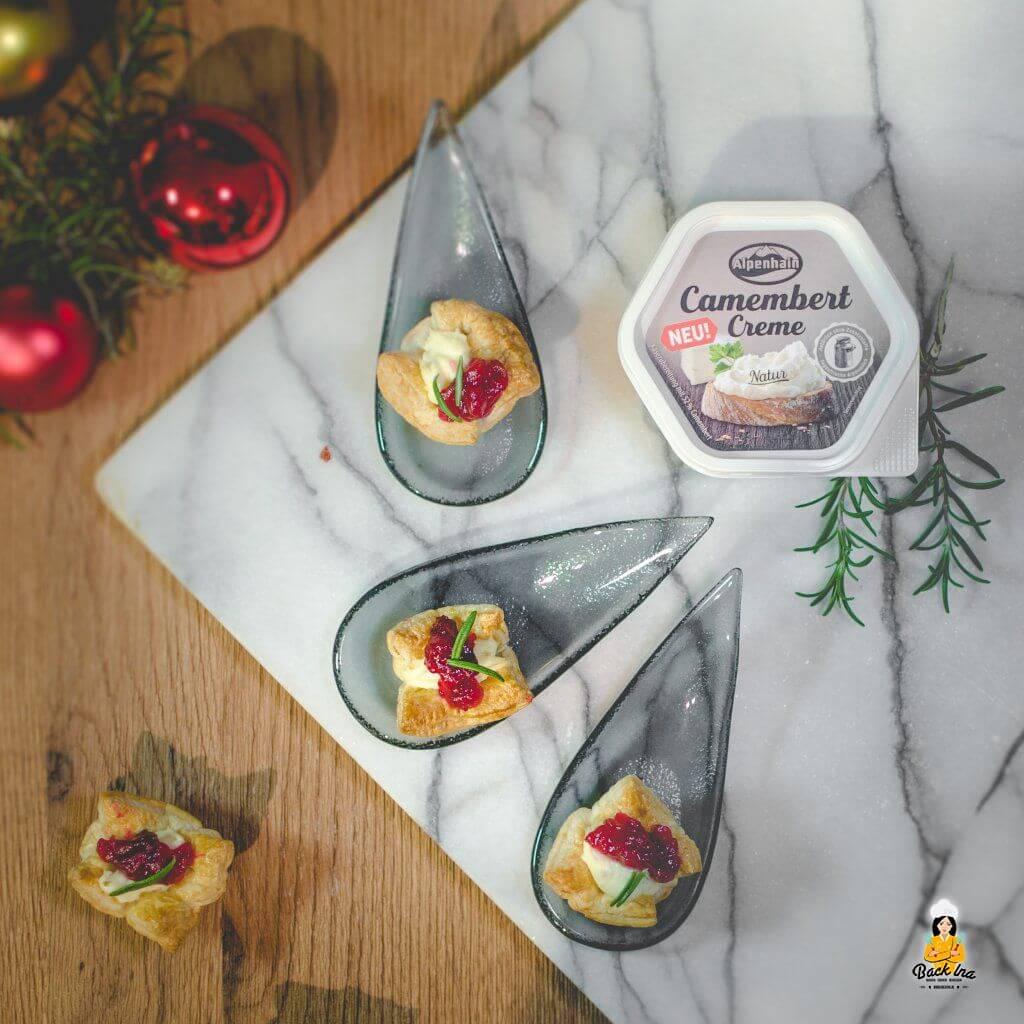 Cranberry Camembert Appetizer: Die ideale Vorspiese für Weihnadchten oder eine kleine herzhafte Vorspeise mit Blätterteig und Käse
