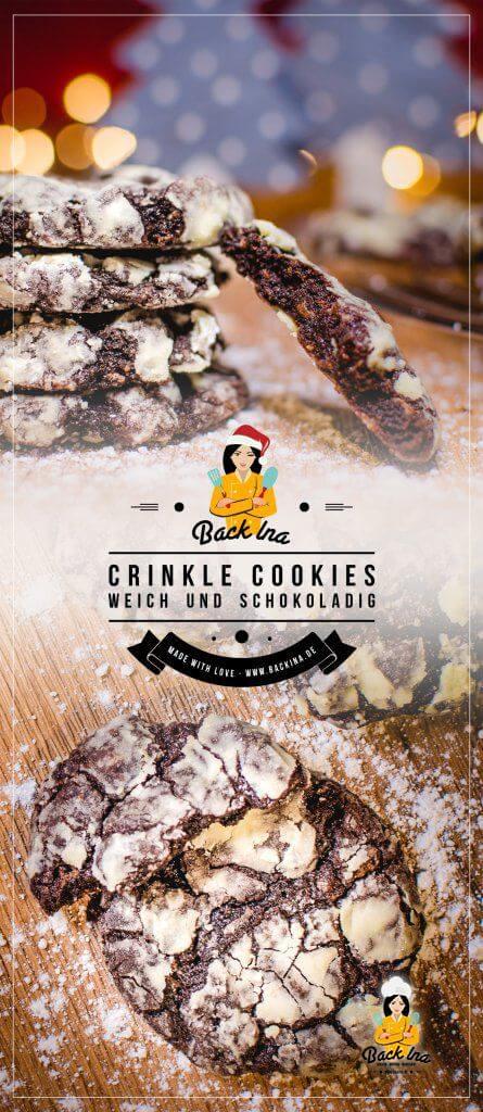 Crincle Cookies zu Weihnachten: Weihnachtsplätzchen mal anders - weiche Schoko Cookies mit Puderzucker Überzug, der aussieht wie verschneit. Diese Schokoplätzchen musst du probieren! | BackIna.de