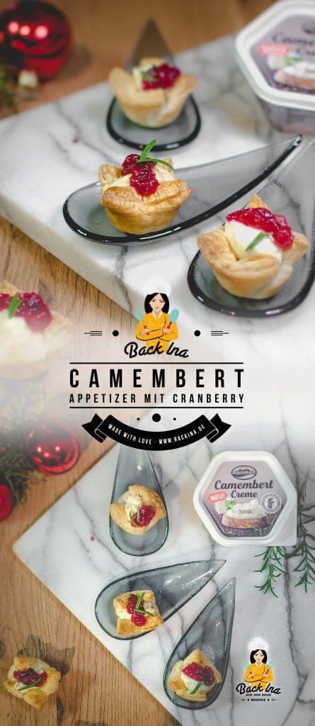 Du suchst eine kleine Vorspeise, einen Appetizer oder ein Amuse Gueule mit Camembert? Dann sind diese Blätterteig-Körbchen mit selbst gekochtem Cranberry-Chutney und Camembert Creme ideal für dich. Eine tolle winterliche Vorspeise! #anzeige #alpenhain | BackIna.de