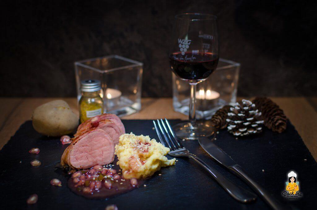Sonntagsgericht mit Schweinelende: Winterliche Lende mit Granatapfel-Sauce und Sesam-Kartoffelpüree