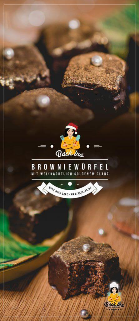 Brownie Würfel in Gold - eine süße Verführung für Weihnachten, Silvester oder zum Geburtstag! Saftige Schokokuchen-Würfel mit Nougat und Gelee gefüllt sind perfekt für Chocoholics <3 | BackIna.de