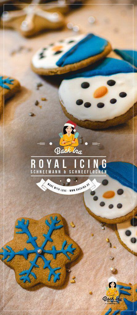 Du möchtest Plätzchen zu Weihnachten mit Royal Icing verzieren? Ich zeige dir, wie es geht und zwei einfache Anleitungen, um Plätzchen zu verzieren: Schneekristall Plätzchen und Schneemann Plätzchen! | BackIna.de