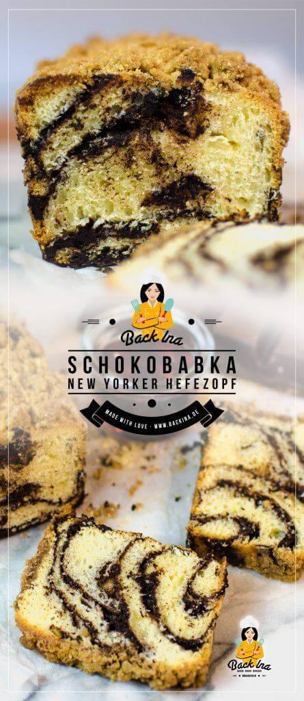 Eine Schoko Babka ist ein typisch New Yorker Gebäck: Ein zarter Hefeteig mit Zartbitter Schokofüllung und Zimt Streuseln, raffiniert gerollt und in der Kastenform gebacken. Probier auch du diese tolle Variante eines normalen Hefezopfs mit Schoko Füllung. Ein besonders einfacher Schoko Hefezopf! | BackIna.de
