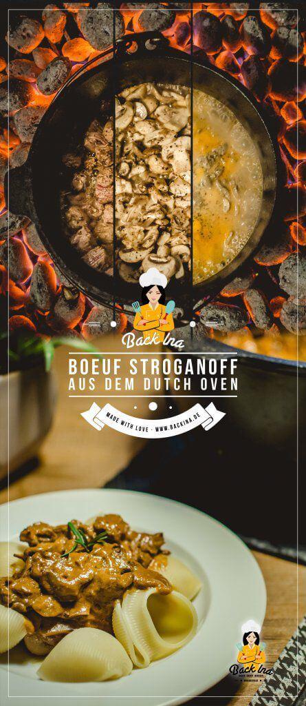 Boeuf Stroganoff ist ein leckeres Winteressen, das du gut auf dem Grill oder dem Dutch Oven zubereiten kannst: Das Rinder Ragout mit Pilzen geht schnell und schmeckt einfach unvergleichlich lecker! Ich zeige dir, wie du Boeuf Stroganoff auf dem Grill oder Dutch Oven zubereiten kannst. | BackIna.de