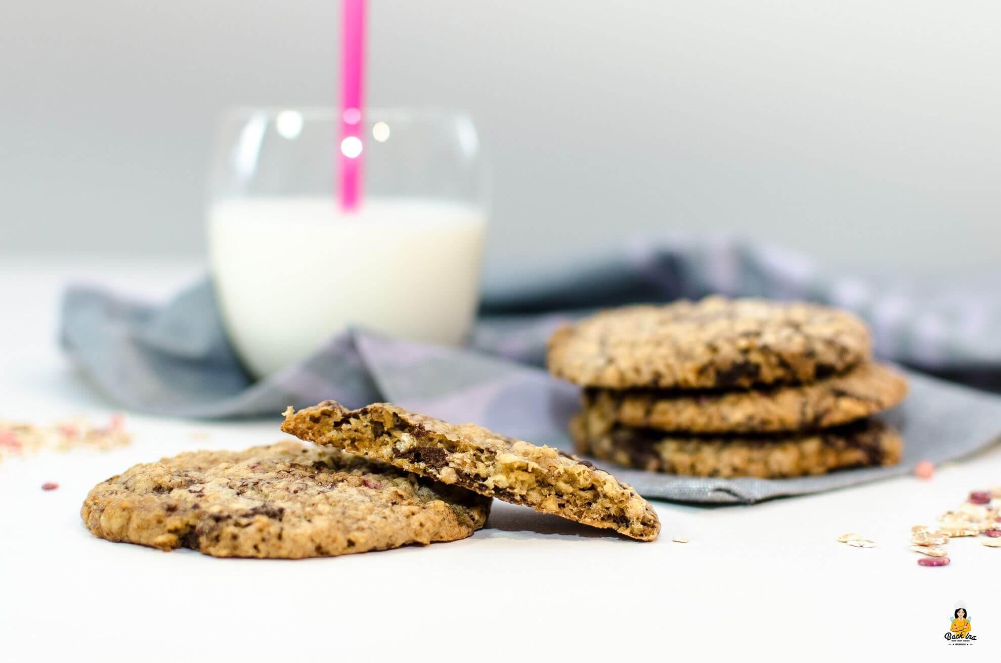 Saftige Haferflocken Cookies mit Schokolade: so chewy! | BackIna.de