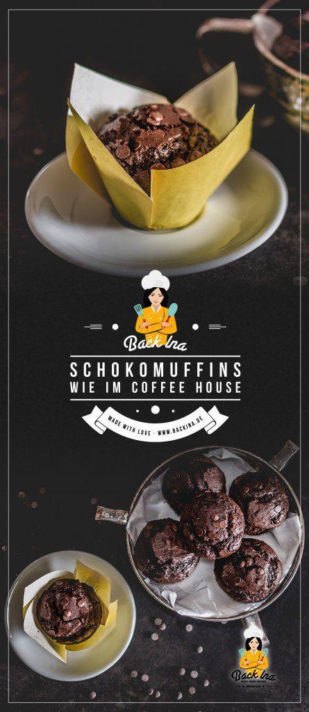 Du willst XXL Schokomuffins mit hohem Deckel und richtig schokoladigem Geschmack? Dann sind diese saftigen Schoko Muffins wie im Coffeeshop, bei McDonald's und Co. genau richtig für dich! | BackIna.de
