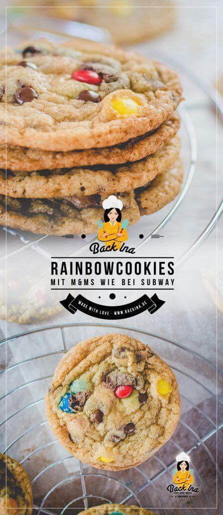 Du möchtest Cookies wie bei Subway selber machen? Dann habe ich hier ein Rezept für Rainbow Cookies, also Cookies mit M&Ms für dich! Die perfekten chewy Cookies im American Style | BackIna.de