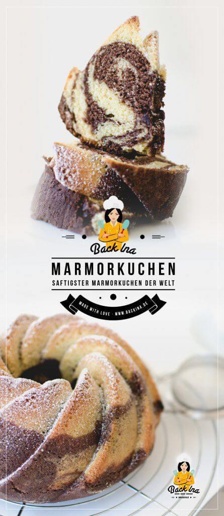 Dieser Kuchen ist der saftigste Marmorkuchen der Welt! Wenn du ein Rezept für einen saftigen Marmorkuchen suchst, ist dieses eindeutig der beste Marmorkuchen, den du backen kannst! Probier es aus :) | BackIna.de