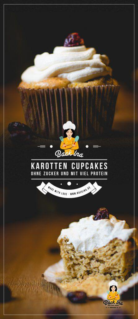 Backen mit Proteinpulver: Carrot Cake Cupcakes mit Whey im Teig. Diese Fitness Karotten Cupcakes mit 10 Gramm Protein pro Portion und ohne Zucker solltest du probieren! | BackIna.de
