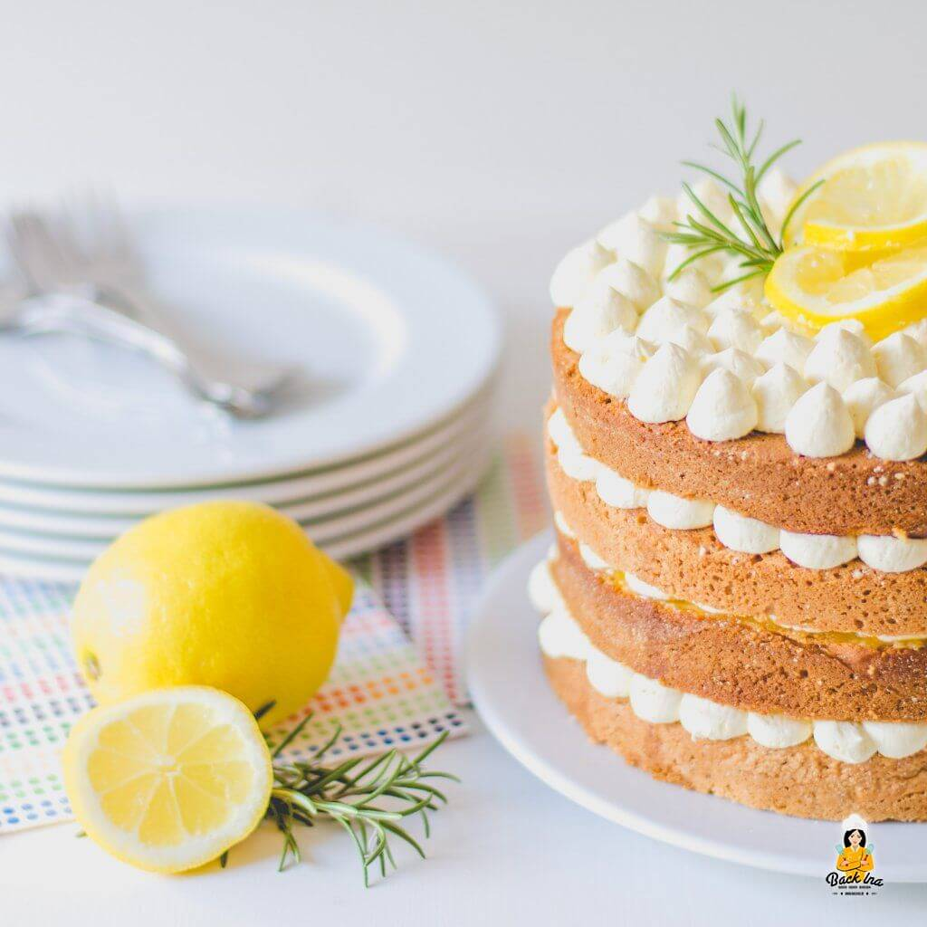 Gold und Silber Torte : Naked Cake mit Zitronen und Mandeln