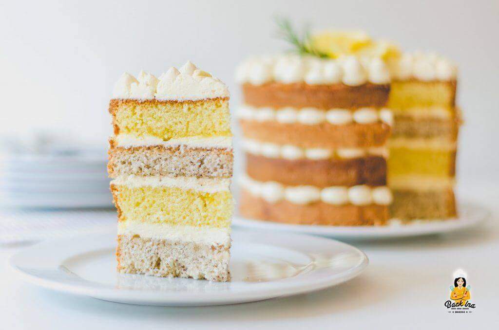 Gold- und Silbertorte: Torte mit Zitronen und Mandel Teig