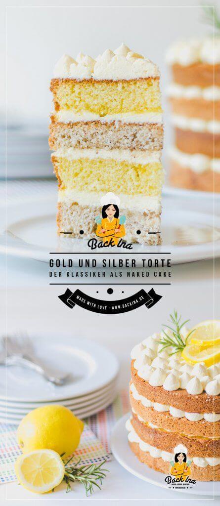 Die Gold- und Silbertorte ist eine bekannte Torte aus Omas Backbuch: Ich zeige dir eine moderne Variante als Naked Cake. Dabei schichtest du die Zitronenkuchen und Mandelkuchen Böden mit Vanille-Buttercreme aufeinander und bekommst so ein einmaliges Geschmackserlebnis! Probiere dieses besondere Torten Rezept einmal aus! | BackIna.de