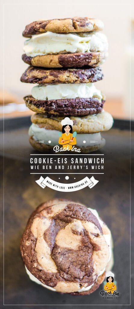 Du liebst Ben & Jerry's Wich? Dieses leckere Eiscreme Sandwich mit Cookies kannst du ganz leicht daheim selber machen! Ich zeige dir, wie du die gestrudelten Cookies hinkriegst - aus Brownie Cookies und normalen Chocolate Chip Cookies gemischt - und mit etwas Eiscreme wird das beste Eiscreme Sandwich der Welt daraus! | BackIna.de