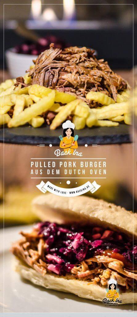 Du möchtest Pulled Pork im Dutch Oven zubereiten? Ich zeige dir die Schritt für Schritt Anleitung, wie du Pulled Pork im Dutch Oven machst, gebe dir ein Rezept für passende Burgerbrötchen für Pulled Pork und Beilagen zum Pulled Pork Burger | BackIna.de