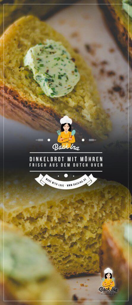 Du möchtest Brot im Dutch Oven backen? Dieses Dinkelbrot mit Möhren ist die ideale Beilage zum Grillen und super einfach gemacht! Erfahre hier mehr über das Brot aus dem Dutch Oven! | BackIna.de