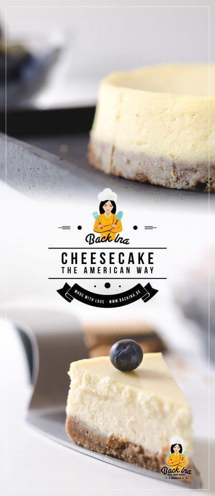 Du möchtest einen typischen American Cheesecake mit einer Fülliung aus Frischkäse backen? Ich zeige dir ein Rezept für Cheesecake, das mit deutschen Inhaltsstoffen garantiert funktioniert. Der cremigste Käsekuchen, den du je gegessen hast! | BackIna.de