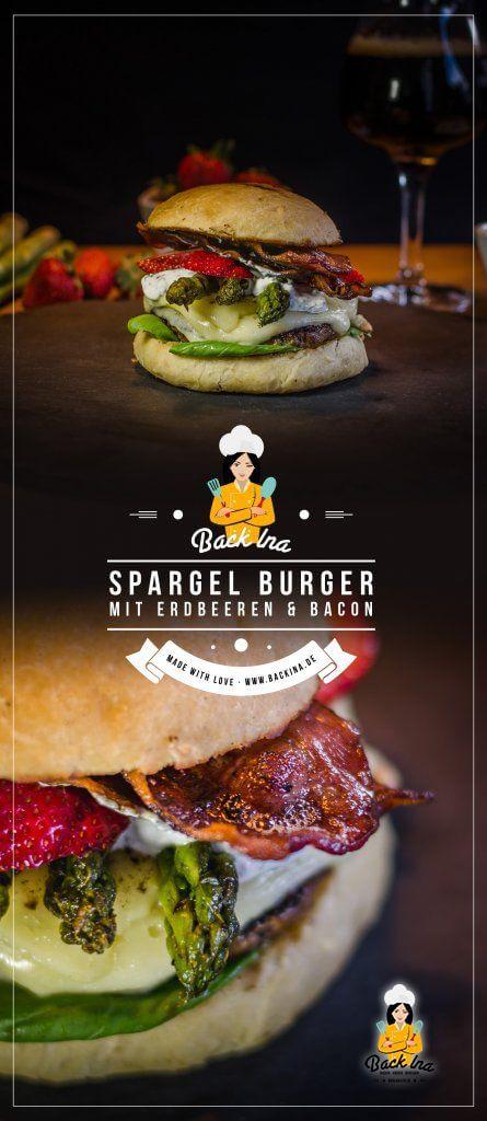 Du liebst Spargel und du liebst Burger? Dann sind diese Spargel Burger mit Erdbeeren und Kräuter Creme perfekt für dich! Eine ganz neue Idee für die Spargelzeit! | BackIna.de
