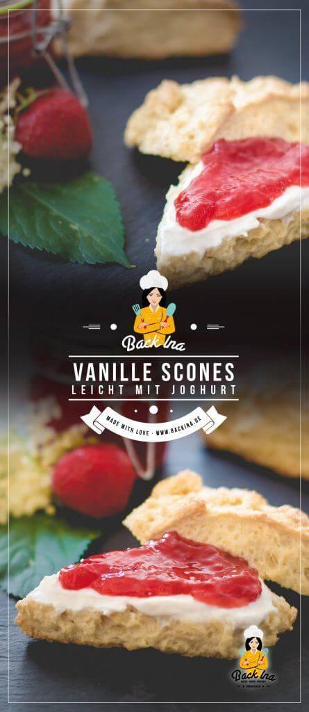 Du suchst ein gutes Rezept für Vanille Scones? Du möchtest leichte Scones backen? Dann sind diese Vanille Scones mit Joghurt im Teig genau richtig - lecker mit Erdbeermarmelade! | BackIna.de