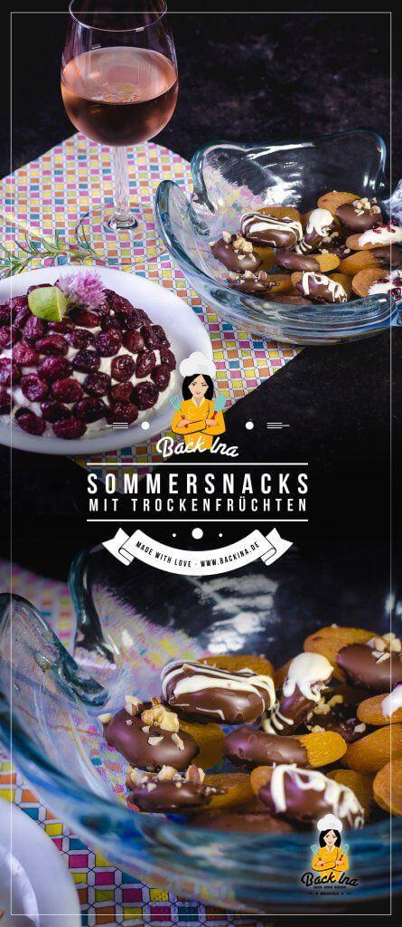 Du suchst schnelle sommerliche Snacks? Dann sind diese Snacks mit getrockneten Aprikosen und Cranberrys genau richtig! Es gibt Schoko Aprikosen und Cranberry-Meerrettich Frischkäse. Schnelle Snacks, die ganz einfach zu machen sind! | BackIna.de