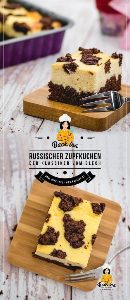 Russischer Zupfkuchen ist ein leckerer Klassiker: Zarte Käsekuchenmasse mit schokoladigem Boden und Streuseln! Ich zeige dir ein einfaches Rezept für Russischen Zuipfkuchen vom Blech. Ideal für Partys und Familienfeiern! | BackIna.de