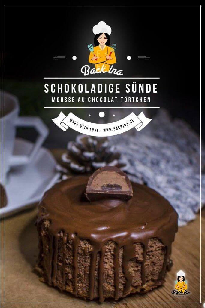 Schokoladige Verführung pur sind diese leckeren Mousse au Chocolat Törtchen! Dabei eignen sich die Schokotörtchen auch super als Dessert im Winter. | BackIna.de