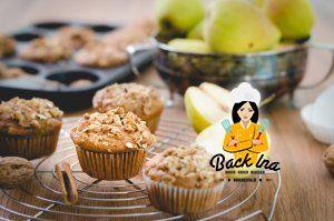 Backen mit Birnen: Birnen Muffins mit Vollkornmehl und Honig