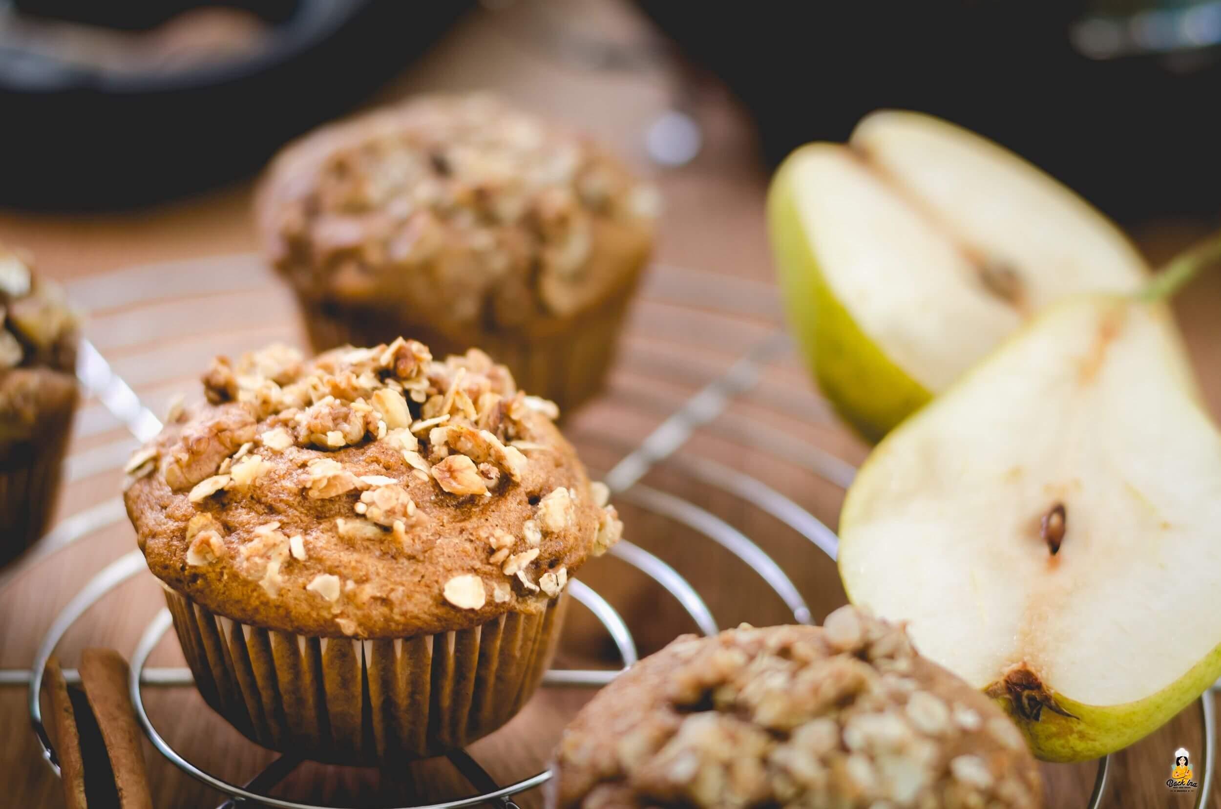Herbst Muffins: Dinkelmehl, Honig und Birnen